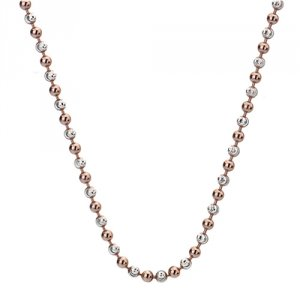 Stříbrný řetízek Hot Diamonds Emozioni Silv and Rose Gold Bead Chain 18