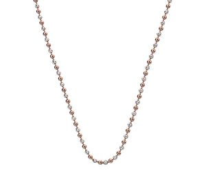 Stříbrný řetízek Hot Diamonds Emozioni Silv and Rose Gold Bead Chain 30